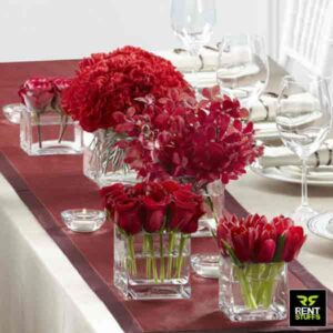 Glass Squire Cube Vases for Rent in Sri Lanka by Rent Stuffs