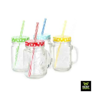 Mason jars mug with handle for rent in Sri Lanka