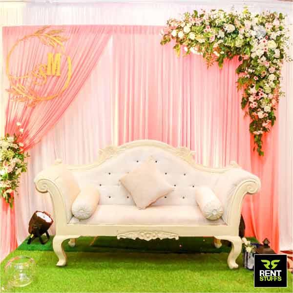 Golden White Weddng Couple Chair for Rent Sri Lanka